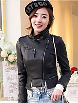 Женский На каждый день Кожаные куртки Воротник-стойка,Секси Однотонный Черный Длинный рукав,Полиуретановая,Средняя