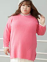 Feminino Camiseta Casual / Tamanhos Grandes Simples Outono / Inverno,Sólido Rosa Algodão / Poliéster Decote Redondo Manga Longa