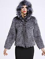 Женский На каждый день Однотонный Пальто с мехом Капюшон,Изысканный Зима Серый Длинный рукав,Лисий Мех