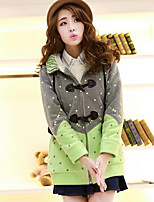 Women's Casual/Daily Simple Regular Hoodies,Polka Dot Blue / Pink / Green Hooded Long Sleeve Polyester Fall / Winter Medium Micro-elastic