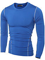 Men's Casual/Daily / Sports Simple / Active All Seasons T-shirtSolid Round Neck Long Sleeve Blue / Black Cotton Medium