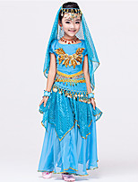 Belly Dance Outfits Children's Performance Chiffon Polyester Gold Coins Sequins 6 Pieces Sleeveless NaturalWaist Belt Skirt Bracelets