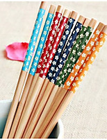 Environmental Art Chopsticks  Japanese Style Suit  Chopsticks  Creative Printing Bamboo Tableware  Five Small Suihua  (Random Colour)