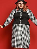 Ample Robe Femme Décontracté / Quotidien / Grandes Tailles simple,Tartan Col de Chemise Midi Manches Longues BlancPolyester / Nylon /