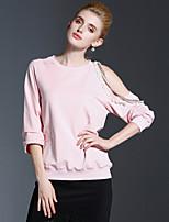 Tee-shirt Femme,Couleur Pleine Décontracté / Quotidien simple Automne Manches ¾ Col Arrondi Rose / Noir Coton Moyen