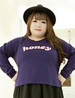 KELIXUAN  Women's Plus Size / Casual/Daily Simple Regular HoodiesLetter Purple Round Neck Long Sleeve Cotton / Polyester Fall / Winter Medium
