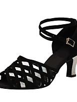 Для женщин Латина Шёлк Сандалии Концертная обувь Кубинский каблук Черный 5 - 6,8 см Персонализируемая