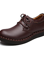 Men's Oxfords Spring / Summer / Fall / Winter Comfort Leather Casual Flat Heel Lace-up Brown / Purple Walking