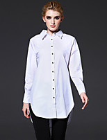 FRMZ   Women's Casual/Daily / Formal / Work Simple Fall / Winter ShirtSolid Shirt Collar Long Sleeve White Cotton Medium