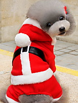 Katzen / Hunde Kostüme / Kapuzenshirts Rot Hundekleidung Winter einfarbig Niedlich / Weihnachten