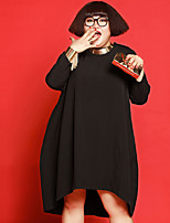 JAZZ Women's Plus Size / Casual/Daily Simple Loose DressSolid Round Neck Midi Long Sleeve Black Polyester Fall / Winter Mid Rise Micro-elastic