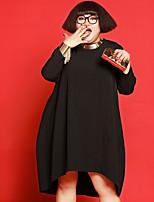 Ample Robe Femme Décontracté / Quotidien / Grandes Tailles simple,Couleur Pleine Col Arrondi Midi Manches Longues Noir PolyesterAutomne /