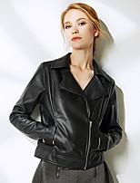 Женский Однотонный Куртка Рубашечный воротник,Уличный стиль Зима Черный / Коричневый Длинный рукав,Полиуретановая