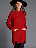 Women's Casual/Daily Simple Long Pullover,Solid Red Black Crew Neck Long Sleeve Cotton Fall Winter Medium Stretchy