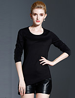 Tee-shirt Femme,Couleur Pleine Décontracté / Quotidien simple Automne / Hiver Manches Longues Col Arrondi Noir Coton