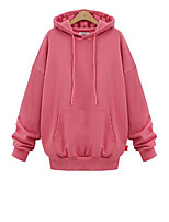 Women's Casual/Daily Simple Regular Hoodies,Solid Pink / Black / Green Hooded Long Sleeve Polyester Fall / Winter Thick Micro-elastic