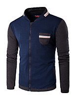 Men's Plus Size / Casual/Daily / Sports Simple Jackets,Color Block Stand Long Sleeve Fall / Winter Blue / Black Cotton Medium