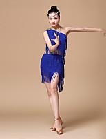 Latinské tance Úbory Dámské Výkon Polyester Flitry / Střapce 2 kusy Sukně / horní a dolní část)