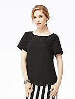 NAKED ZEBRA Women's Casual Street chic Summer BlouseSolid Round Neck Short Sleeve White / Black Polyester