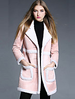 YBKCP Women's Casual/Daily Simple CoatSolid Notch Lapel Long Sleeve Fall / Winter Pink Polyester