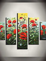 Hand-Painted Abstract / Floral/Botanical 100% Hang-Painted Oil Painting,Modern / Pastoral Five Panels Canvas Oil Painting For Home