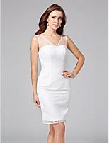 Lanting Bride® Ołówkowa / Kolumnowa Suknia ślubna - Szykowne i nowoczesne Krótkie białe Do kolan Wcięcie V Koronka z Koronka