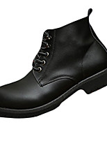 Черный-Мужской-На каждый день-Полиуретан-На плоской подошве-Удобная обувь-Ботинки