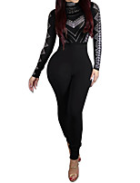 Women's Going out Vintage Fall / Winter Set Pant Suits,Solid Round Neck Long Sleeve Black / Green Polyester Opaque