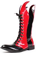 Черный Красный-Для мужчин-Для прогулок Для офиса Повседневный Для вечеринки / ужина-СинтетикаУдобная обувь-Ботинки
