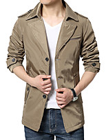 Men's Casual/Daily Simple Jackets Solid Stand Long Sleeve Fall  /Black / Khaki k308