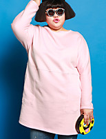 JAZZ Women's Plus Size / Casual/Daily Simple Loose DressSolid Round Neck Above Knee Long Sleeve Pink Cotton / Polyester Fall / Winter Mid Rise