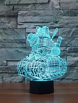 טנקים נוגעים עמעום 3D LED מנורת לילה מנורת אווירת קישוט 7colorful תאורת חידוש אור חג המולד