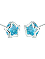 SILVERAGE 925 Sterling Silver Blue AAA Cubic Zirconia Stud Earrings 2016 New