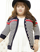 Women's Formal Plus Size Simple Regular Cardigan,Striped White V Neck Long Sleeve Polyester Nylon Others Fall Winter Medium Inelastic