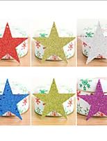 6pcs / set árvore de Natal decorativa estrelas enfeites decorações de papel de glitter lantejoulas estrela do natal pentagrama pendant10cm