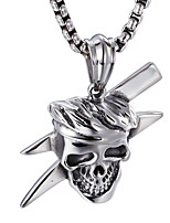 Kalen® Punk Stainless Steel Viking Skull Pendant High Polished Rock Cool Pendant Long Chain Necklace Gift