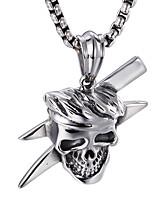 kalen® панк нержавеющей стали викинг черепа кулон отполированный рок прохладно кулон подарок ожерелье длинной цепью