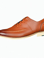 Черный / Коричневый / Красный-Мужской-На каждый день-Кожа-На плоской подошве-Удобная обувь-Туфли на шнуровке