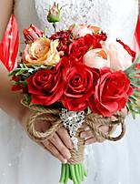 Bouquets de Noiva Redondo Rosas Buquês Casamento / Festa / noite Poliéster / Cetim / Tafetá / Elastano / Flôr Seca / Strass