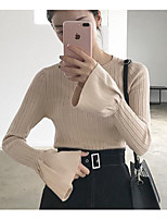 Women's Casual/Daily Simple Long Pullover,Striped Blue / Pink / Black / Brown / Gray Round Neck Long Sleeve Cotton Fall / Winter Medium