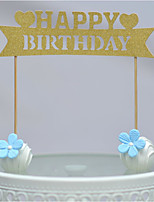 Gold Walk-Through With Heart Happy Birthday Cake Topper