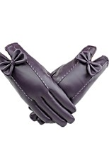 (NOTE - PURPLE) MS PU LEATHER GLOVES TO KEEP WARM AND VELVET TOUCH SCREEN GLOVES