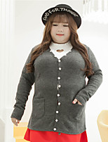 Women's Casual/Daily Plus Size Simple Regular Cardigan,Solid Gray V Neck Long Sleeve Polyester Others Fall Winter Medium Micro-elastic