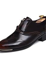 Черный Коричневый Красный Золотистый-Мужской-Повседневный-Полиуретан-На плоской подошве-Удобная обувь-Туфли на шнуровке
