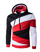 Normal Hoodies Hommes Décontracté / Quotidien / Sportif / Vacances Actif,Couleur Pleine Blanc / Noir Capuche Manches Longues Coton