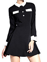 Women's Casual/Daily Simple Sheath Dress,Solid Shirt Collar Mini Long Sleeve Black Cotton Spring / Fall Mid Rise Micro-elastic Medium