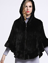 BF-Fur Style Women's Casual/Daily Sophisticated Fur CoatSolid Hooded  Sleeve All Seasons Black / Brown Others