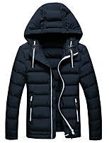 Men's Fashion Thick Hooded Down Jacket Simple Plus Size / Casual/Daily Solid-Cotton / Polyester Polypropylene Long Sleeve HoodedBlue / Black / Gray /
