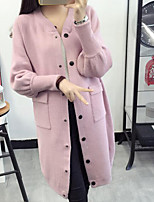 Women's Casual/Daily Simple Regular Cardigan,Solid Pink / Gray V Neck Long Sleeve Rabbit Fur Winter Medium Micro-elastic