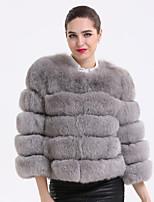 Женский На каждый день Однотонный Пальто с мехом Круглый вырез,Изысканный Зима Серый Рукав ¾,Лисий Мех